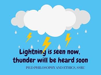 Lightning is seen now, thunder will be heard soon